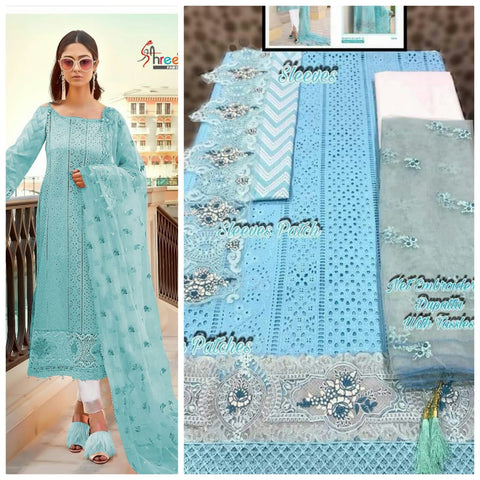 Blue cotton print embroidery dress material