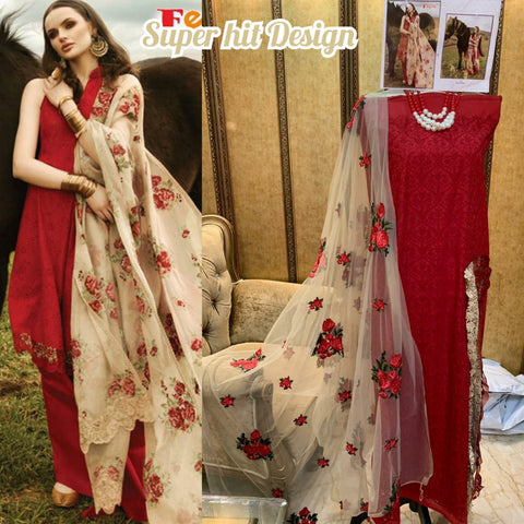 Red cotton embroidery dress material