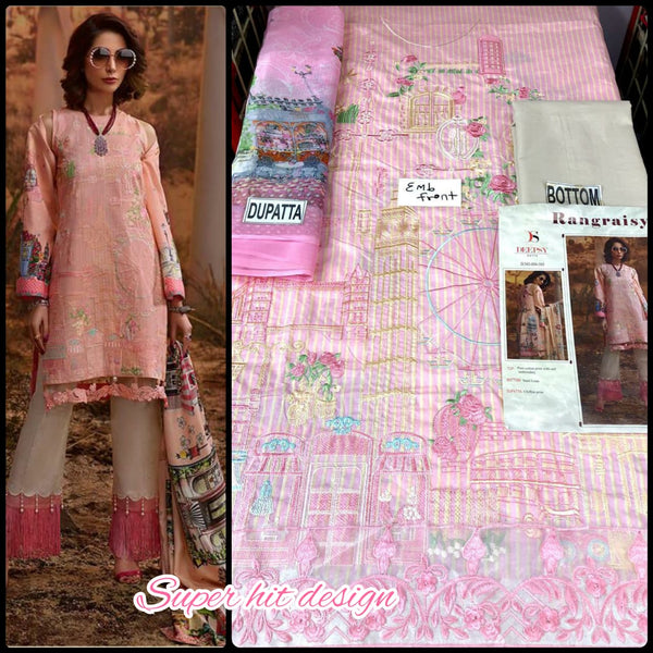 Pink Cotton Embroidery Dress Material