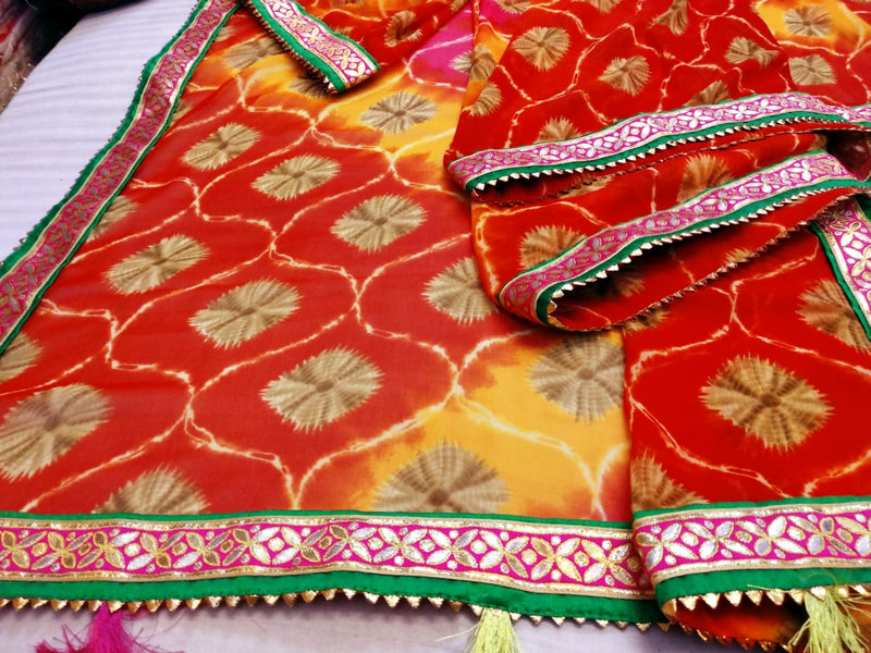 Multicolour gotta patti  saree