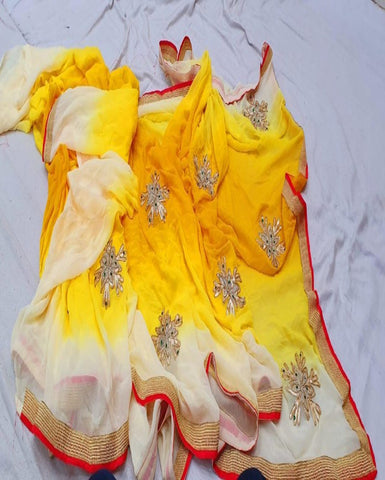 Yellow chiffon gotta patti work saree