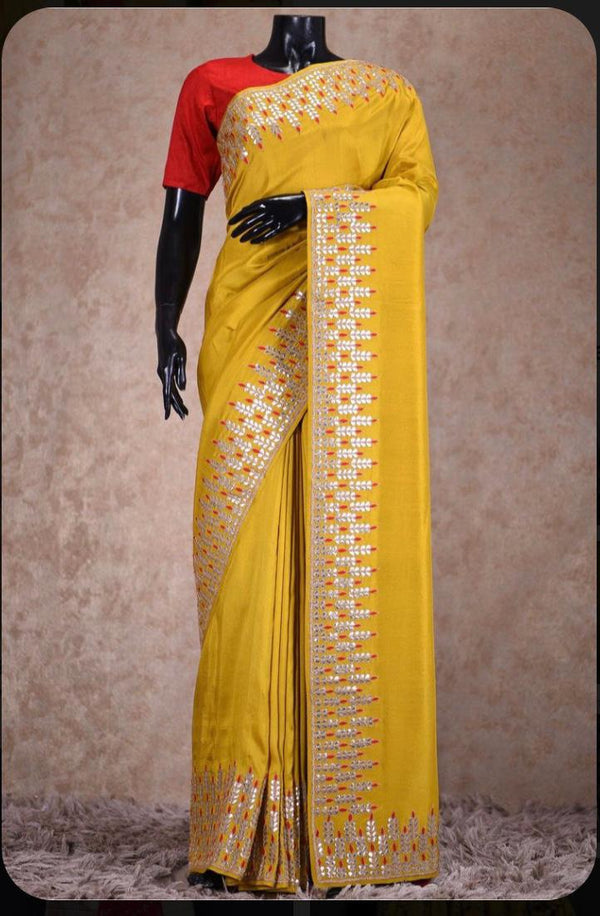 Yellow gotta patti latest saree
