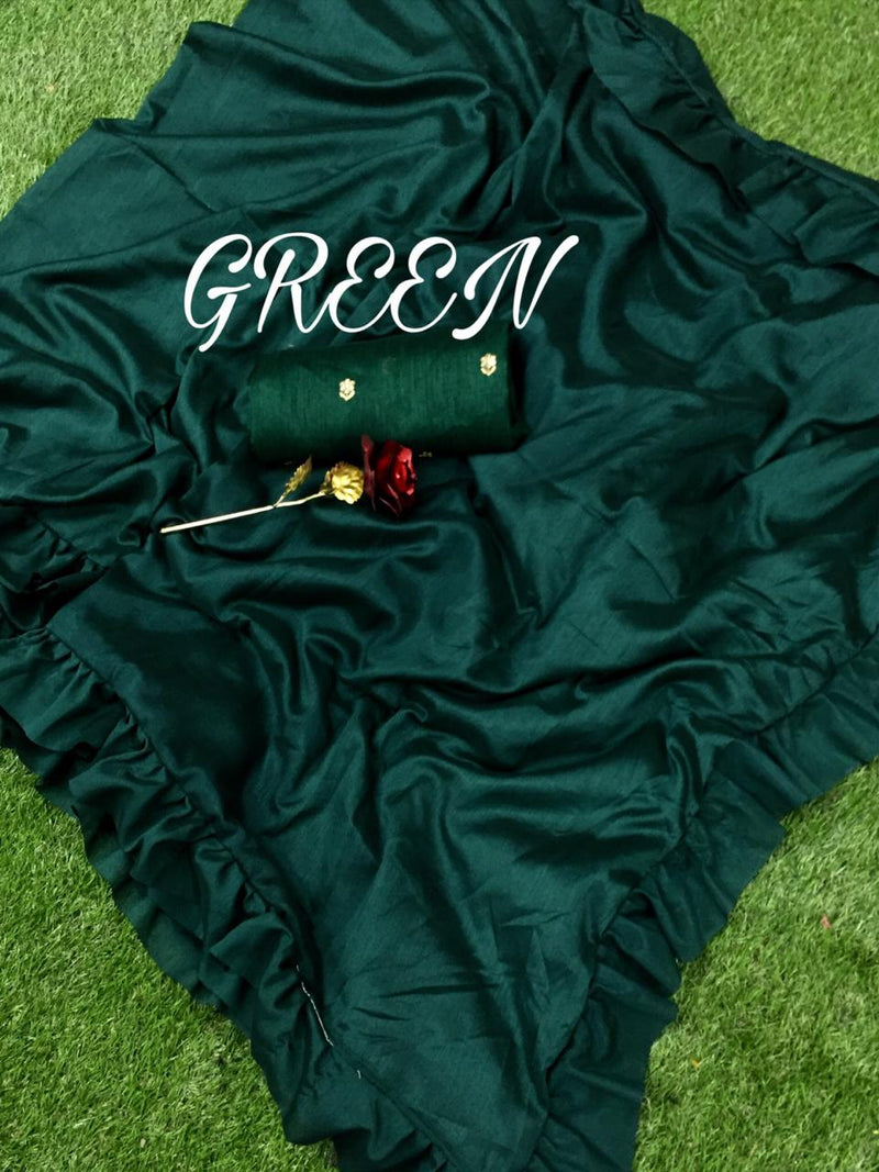 Green Ruffle Designer Saree