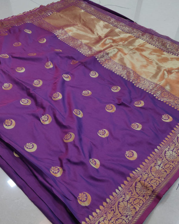 Purple banarsi saree rich pallu
