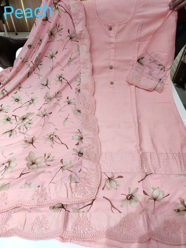 Pink cotton designer dress material