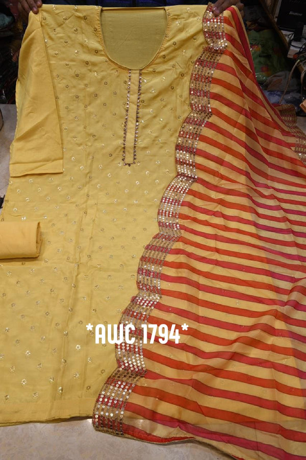 Yellow Chanderi Silk Elegant Dress Material