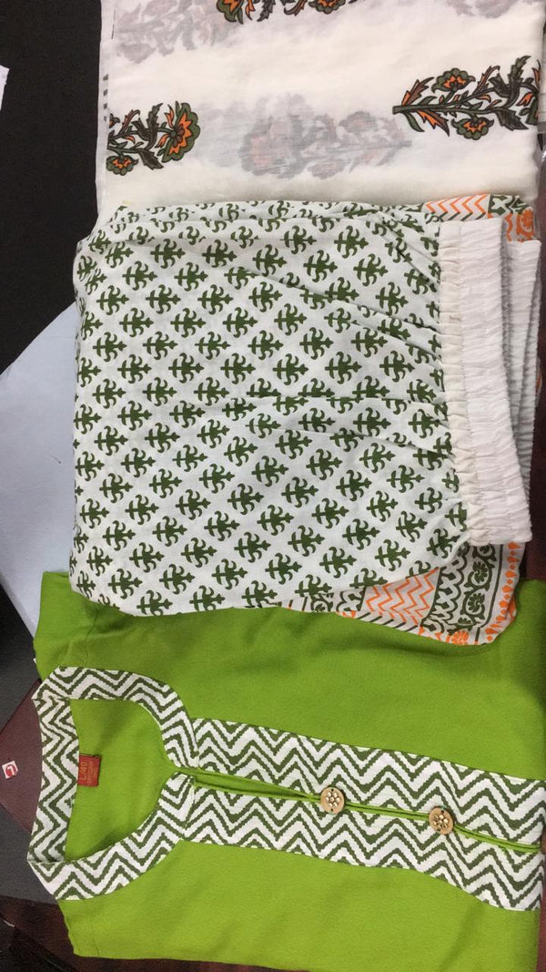 Kurti with Cotton sharara and dupatta