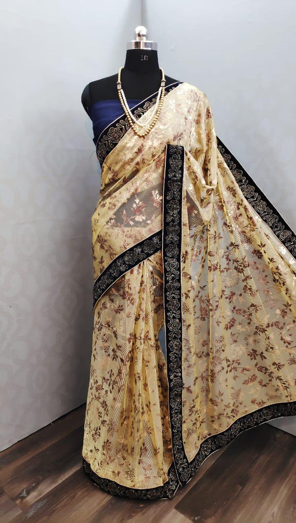 Gold print velvet border saree