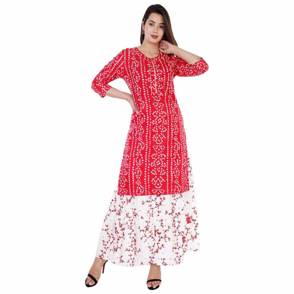 Red Kurti Sharara Set