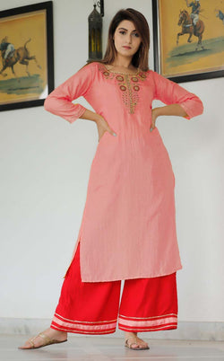 Peach embroidery kurti plazo set