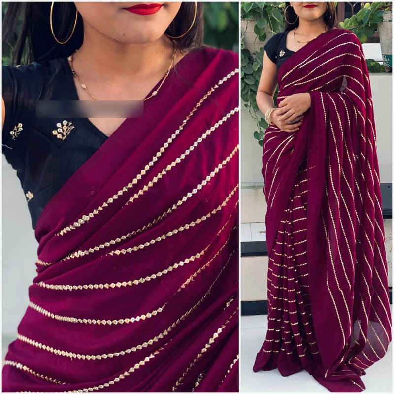 Vichitra Maroon Silk Saree