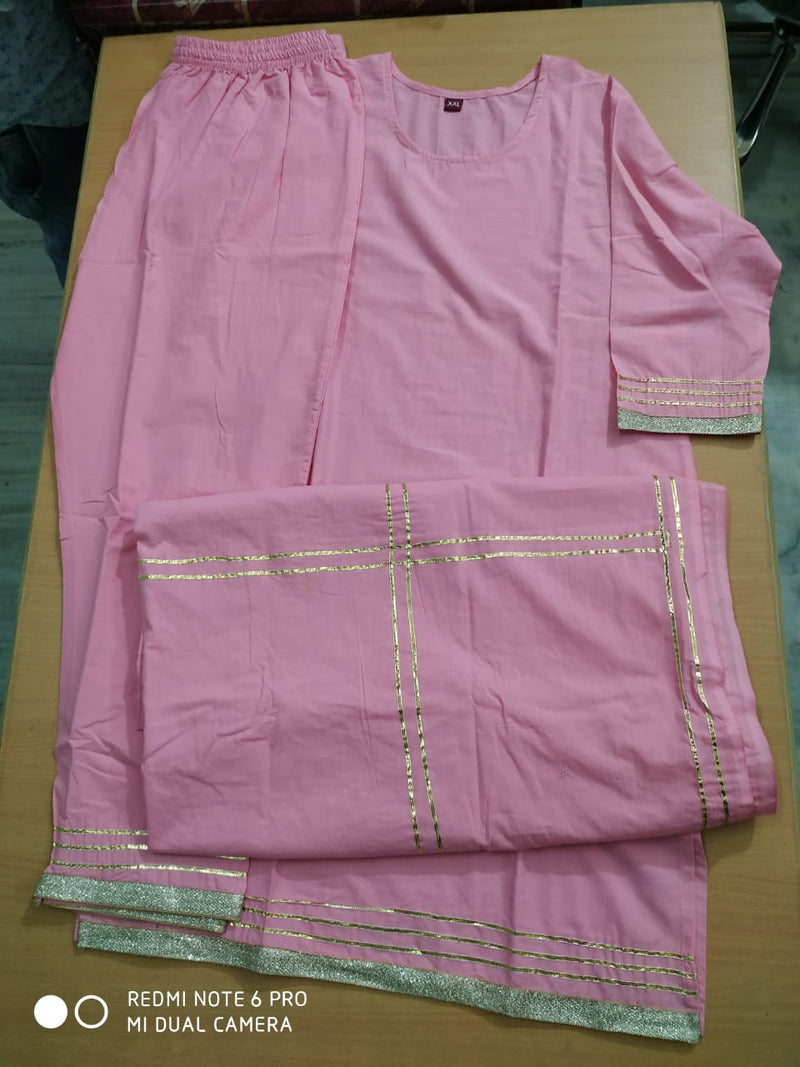 Pink gotta cotton suitset
