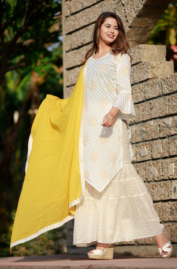 Cotton summer kurti sharara set