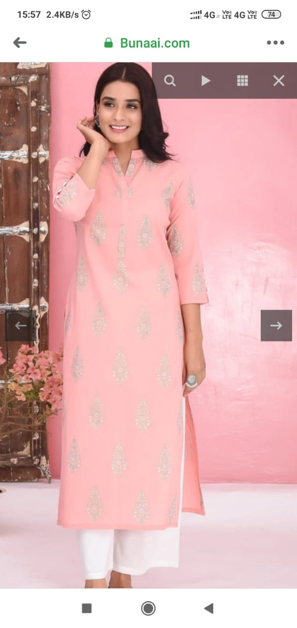 Light Pink kurta plazo set