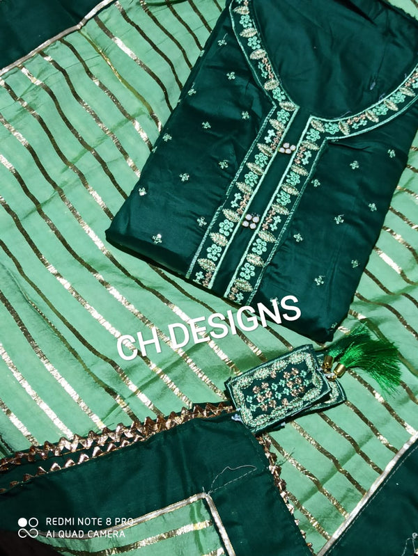 Green cotton dressmaterial strips stole