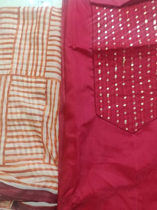 Chanderi Dress material Graphic Dupatta