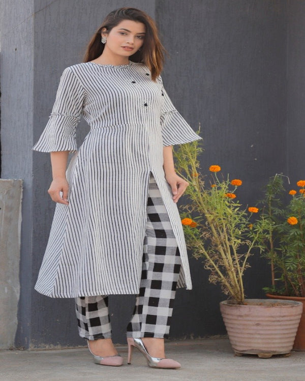 Cotton kurti check plazo
