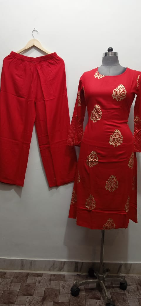 Red gold block kurti plazo