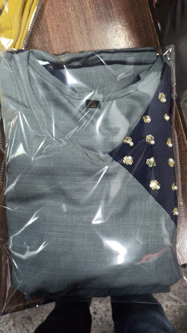 Grey hand work short kurti sharara