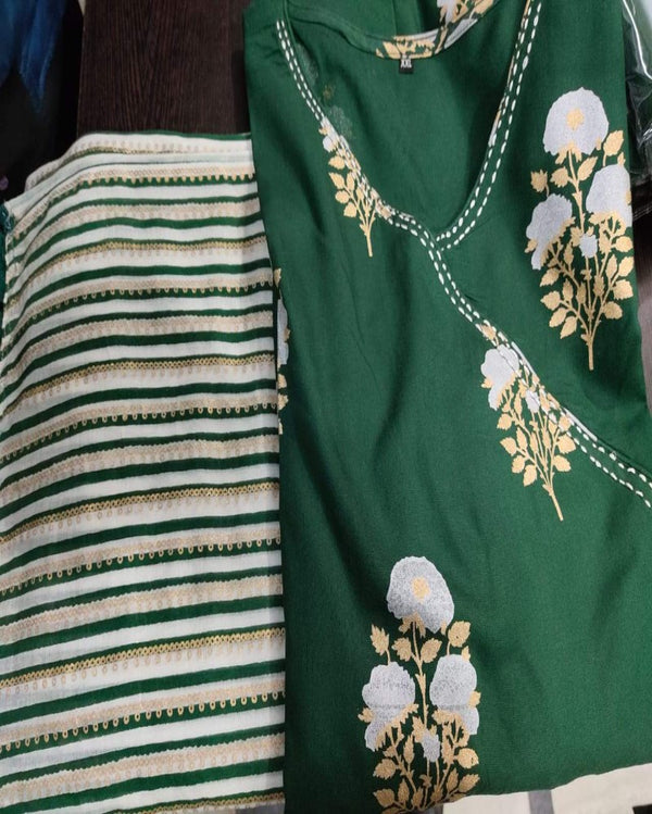 Green block print anarkali dupatta