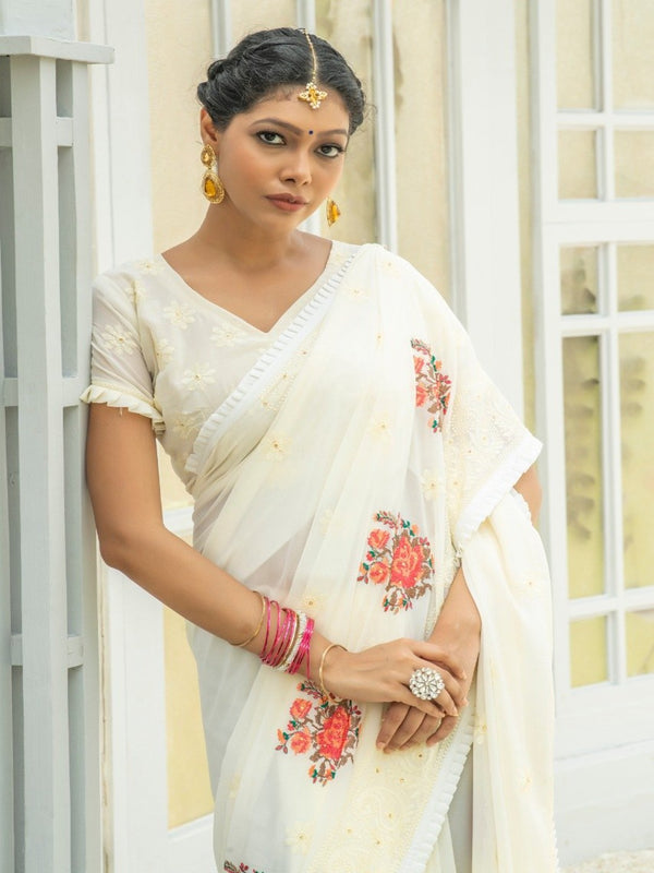 White Peach Embroidered Butta Saree