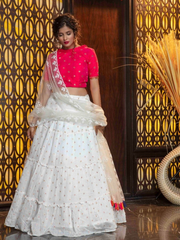 White Sequence Silk Blend Lehenga
