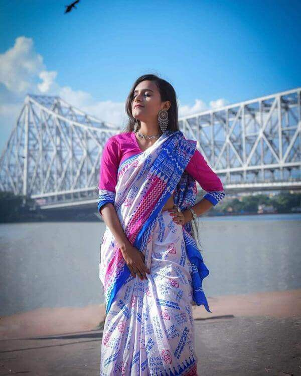 White with blue border Silk art saree