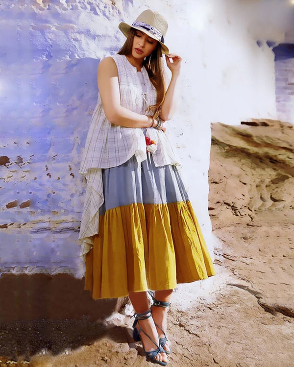 Women Yellow Layered Western Kurti