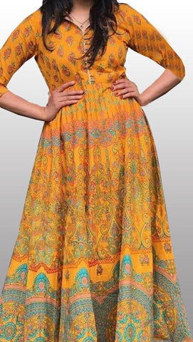 Yellow cotton full length kurti