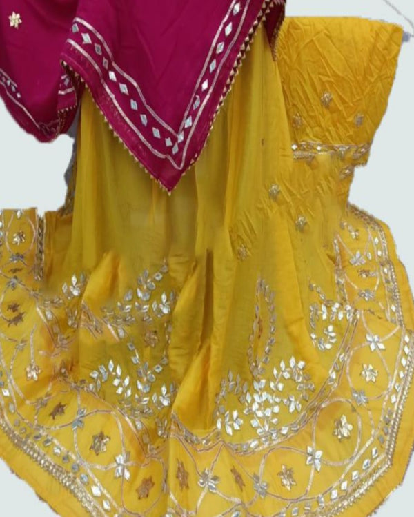 Yellow Light Gottapatti Chiffon Lehenga