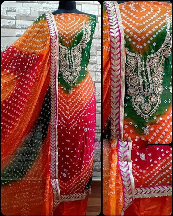 Bandhej gotta patti kundan dress material