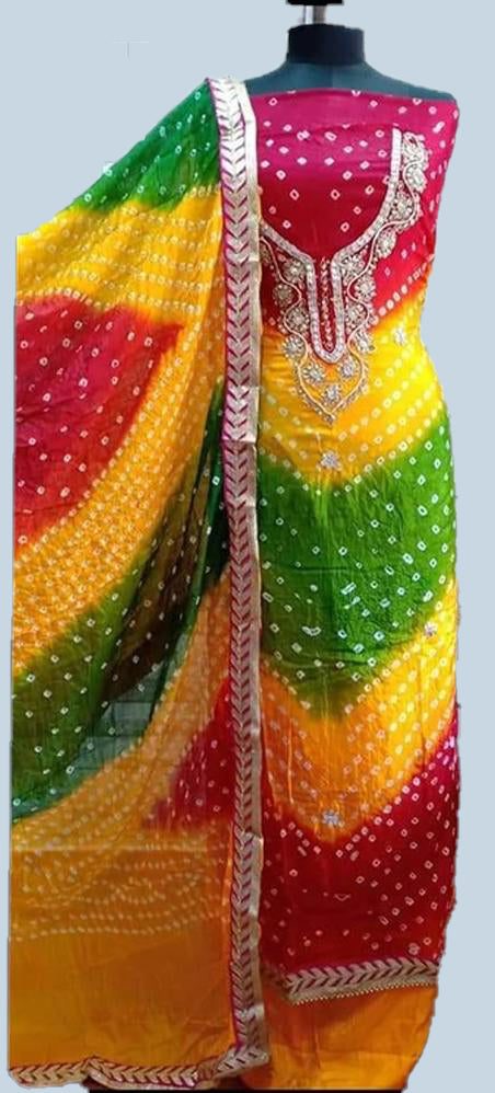 Bandhej multicolourr kundan dress material