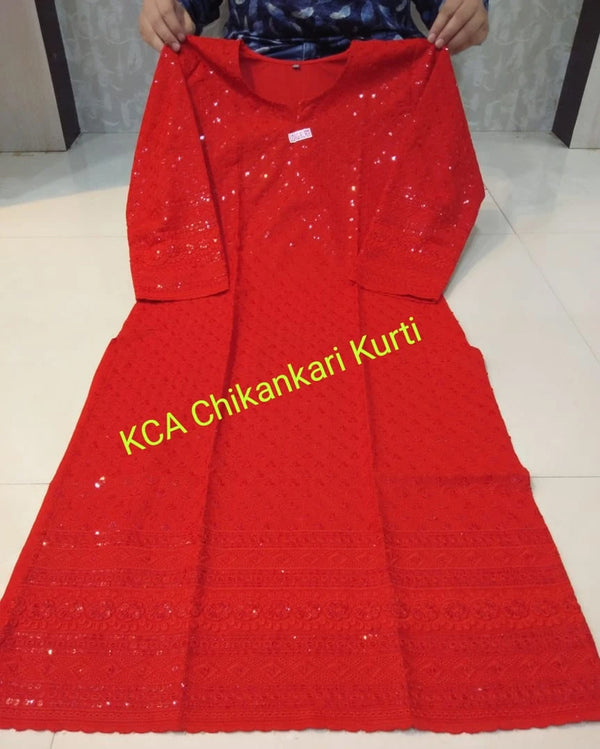 Pure Cotton Red Chikan Work Kurta