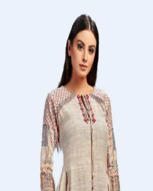 Beige Long Gown Style Kurtis