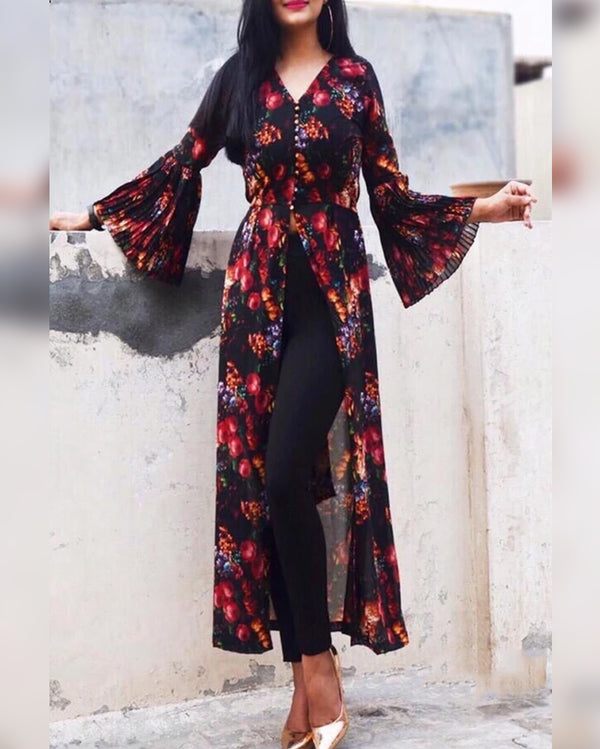 Bell sleeves front slit kurti