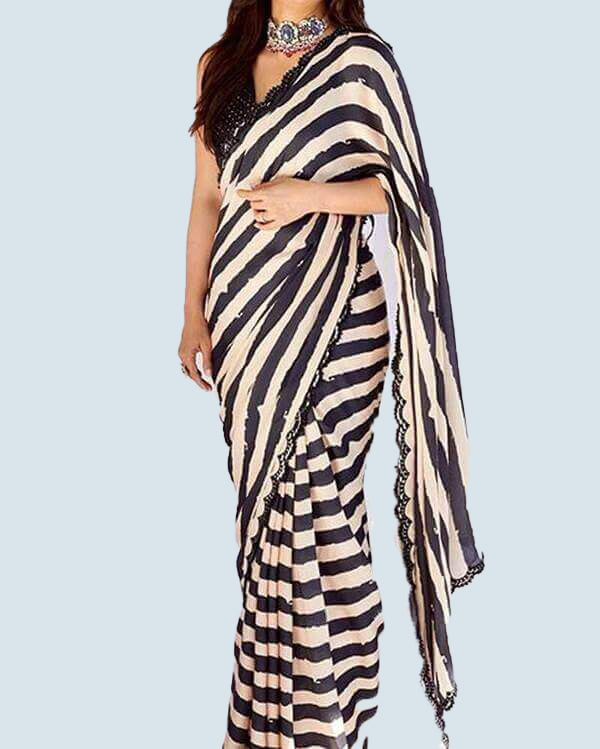 Black and White Striped Saree