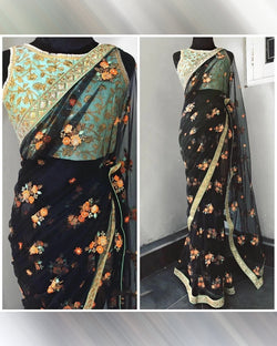 Net Saree - Black Sequence Work Saree