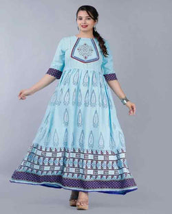 Blue Anarkali Neck Design Gown