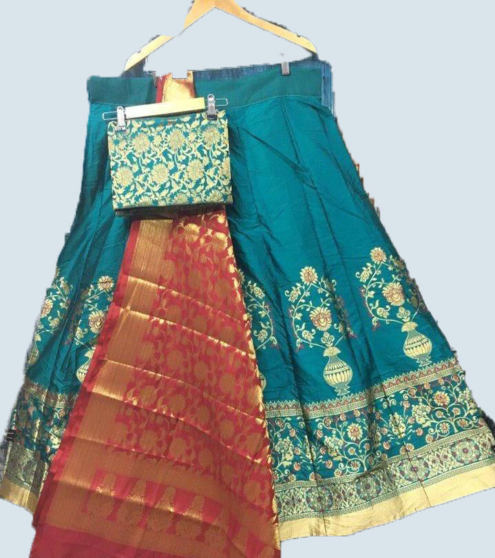 Blue brocade silk lehenga - Fashionmozo