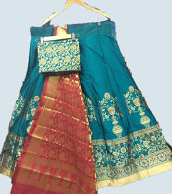 Blue brocade silk lehenga