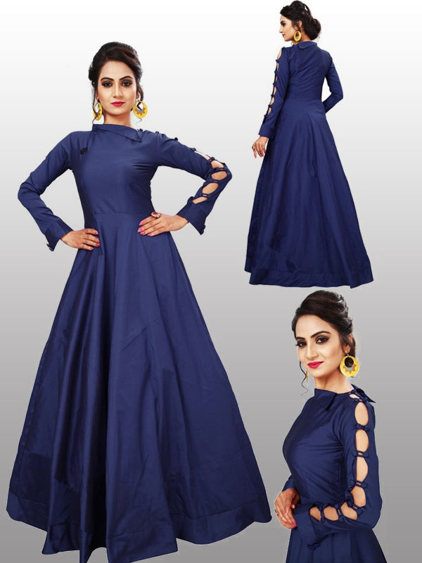 Blue party wear gown - Fashionmozo