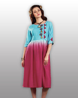 Blue Purple Designer Kurti - Fashionmozo