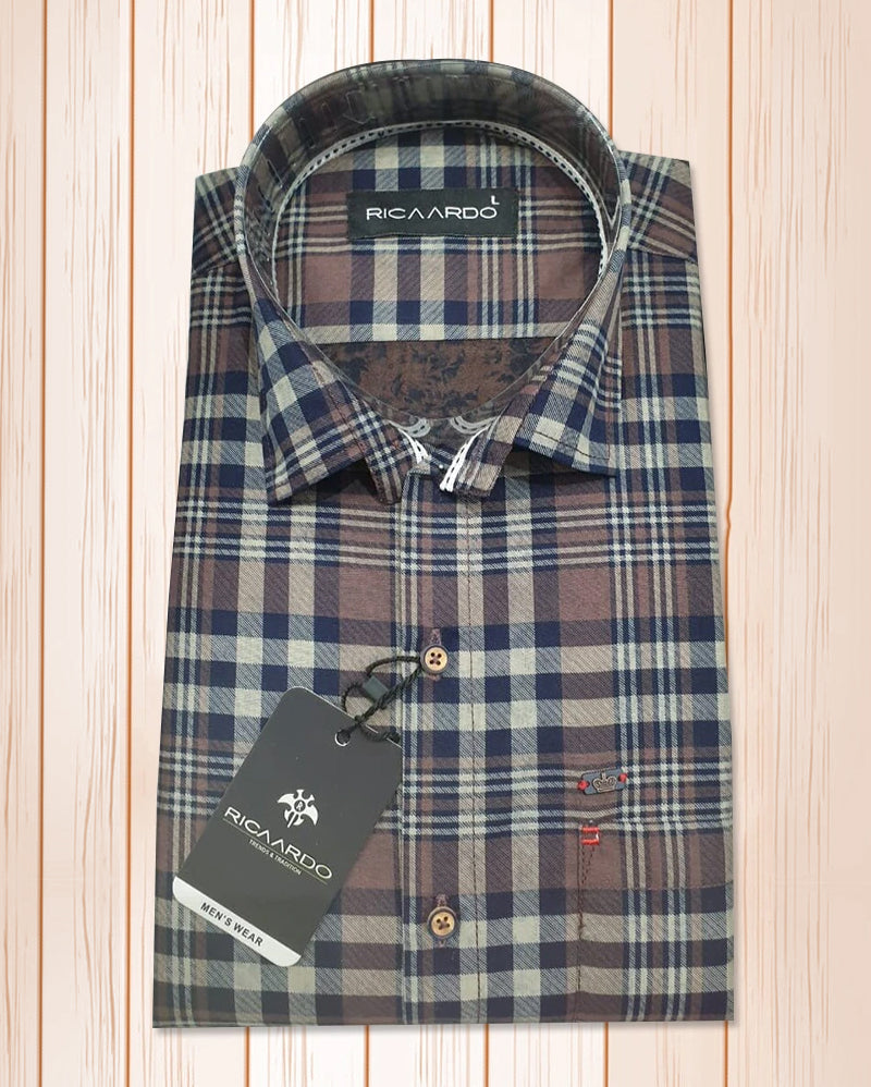 Brown Cotton Tweed Check Shirt