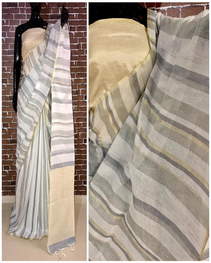 Brown lining linen saree