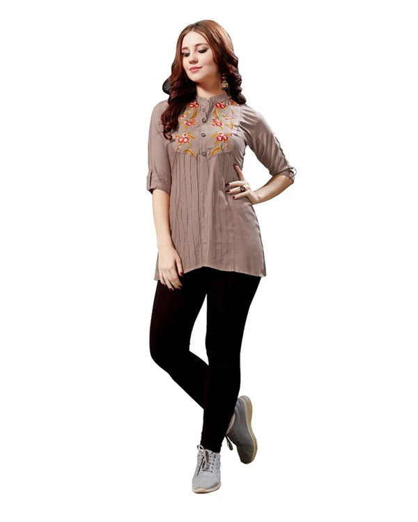 Brown Rayon Slub Tunic Top