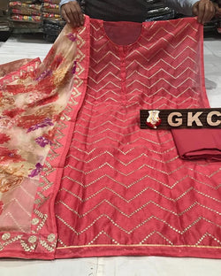Chanderi Dress Material Printed Dupatta