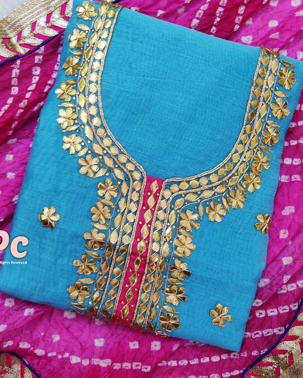 Chanderi Gotta Patti Dress Material With Bandhani Dupatta