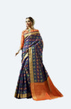Blue patola print saree
