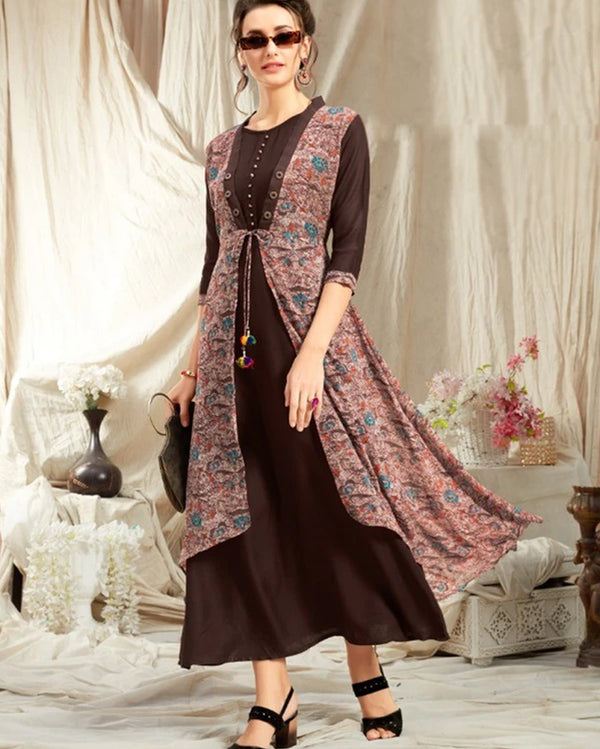 Coffee Rayon Kurti with Jacket