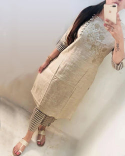 Cotton work kurti with pant